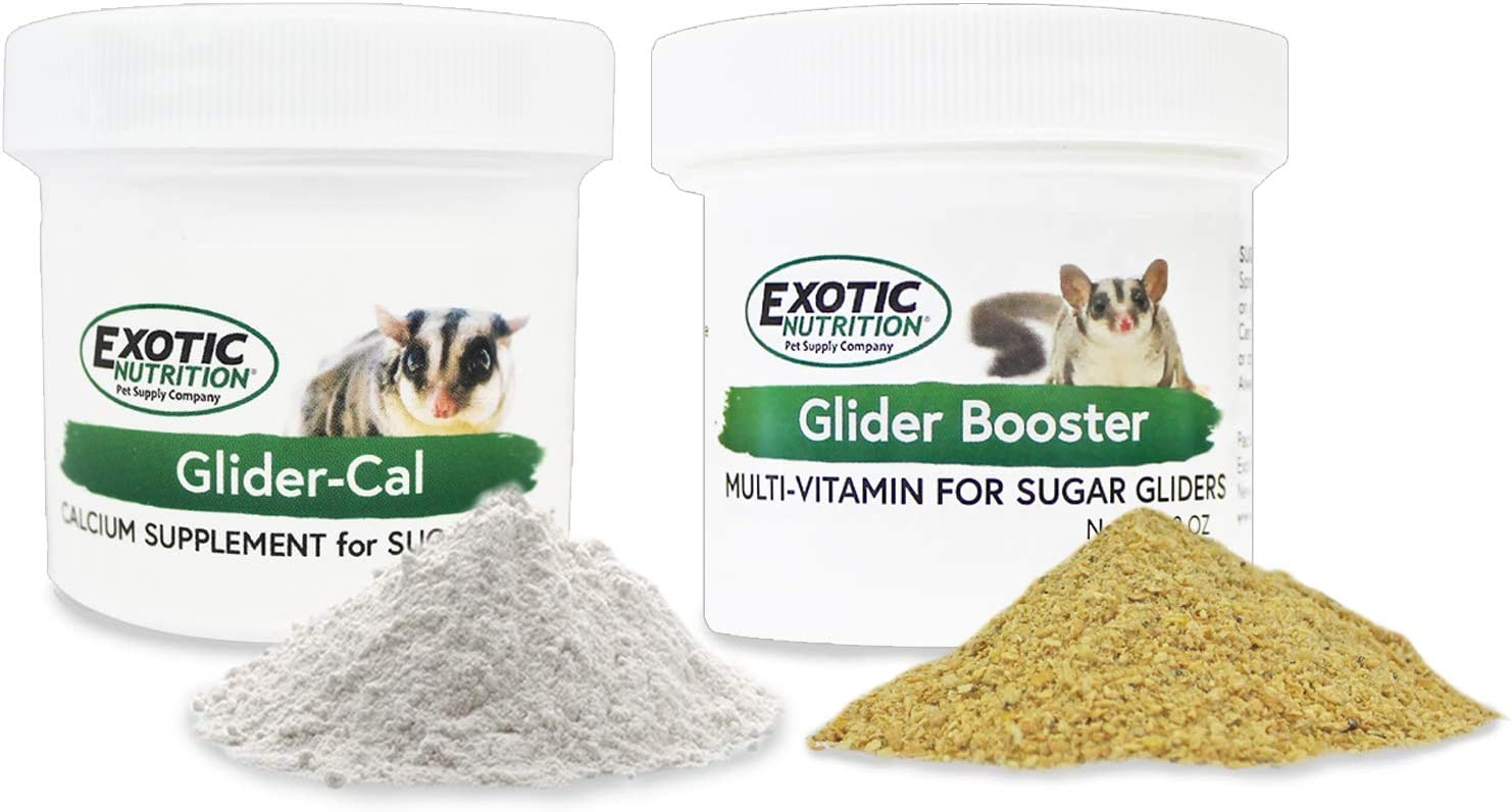 Exotic Nutrition Sugar Glider Vitamin Combo Pack - Powder Multivitamin & Powder Calcium Supplement for Pet Sugar Gliders