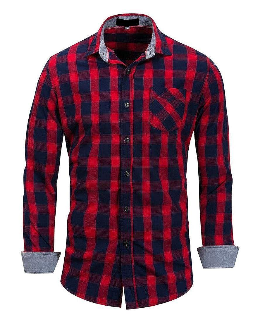 heymoney Men Casual Button Down Shirts Long Sleeve Regular Fit Plaid Shirt