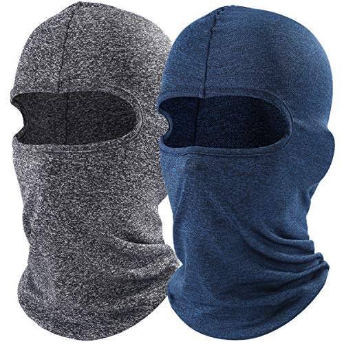 AXBXCX 2 Pack - Balaclava Full Face Mask Windproof Longer Neck Cover Hood for Sun Protection Fishing Skiing Snowboarding Motorcycling Running for Men and Women Gray and DarkBlue