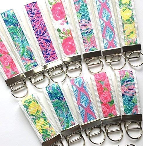 Lilly Pulitzer Inspired Key Fob Mini or Wristlet Keychain