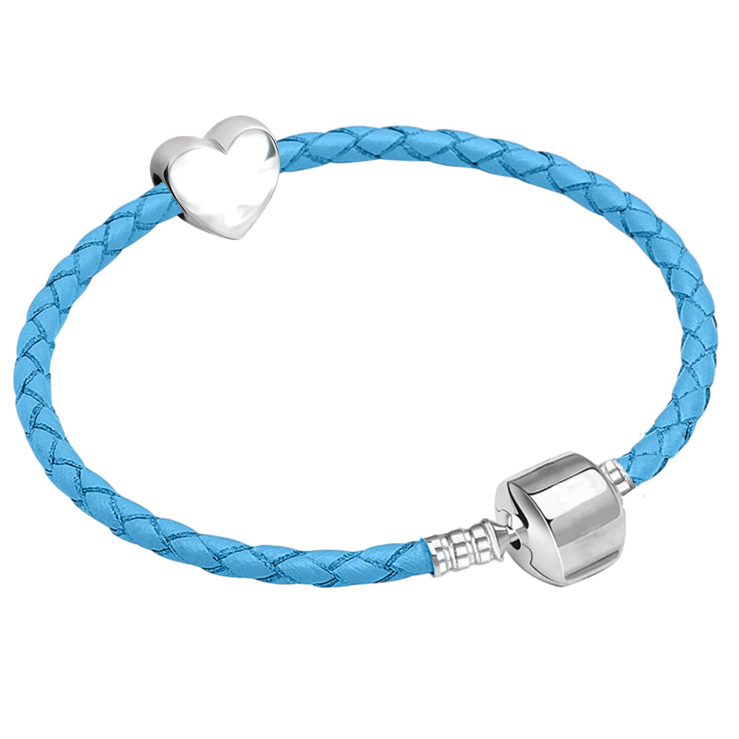 15cm Young Girls Blue Leather Starter Charm Bracelet with Silver Heart and Gift Box for Age 3 - 5 Years Charm Buddy Charm Buddy ® CBY: #15cm Blue Leather