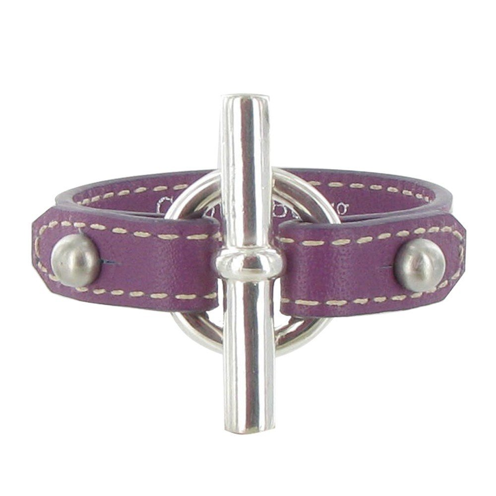 Les Poulettes Jewels - Sterling Silver Bracelet - With Purple Leather and T Clasp Knot Design