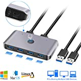 USB3.0 Switch Selector, 2 Computers 6-Port USB 3.0 Peripheral Sharing Switch Hub Adapter for Keyboard, Mouse, U-Disk, Printer, KVM One-Second Switcher USB3.0, Compatible with Mac/Windows/Linux