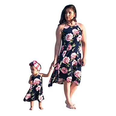 b81dbd1c91 Amazon.com: Franterd Mommy & Me Summer Dress Family Matching Floral ...