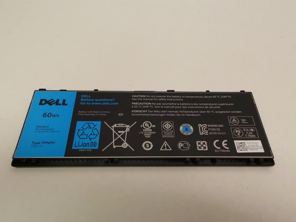 Genuine Dell Latitude 10 ST2 Touch Screen Tablet Replacement 60WH Type PPNPH Standard Rechargeable Li-Polymer Battery, Compatible Part Numbers: YCFRN, FWRM8, KY1TV, 312-1412, 1VH6G, 1XP35, C1H8N