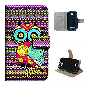 DASH 4.5/D310A case, SoloShow(R) BLU DASH 4.5/D310A 4.5 inch case Deluxe High Quality PU Leather Wallet Flip case, Aztec Andes cartoon owl Pattern (owl)