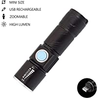 Flashlights USB Rechargeable Portable Ultra Bright Led Flashlight Mini Handheld Torch Light (Black)