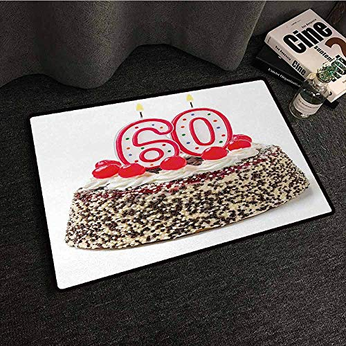 DILITECK Modern Door mat 60th Birthday Happy Party Sweet Cake with Candles Cherries and Tasty Sprinkles Image Photo Hard and wear Resistant W31 xL47 Multicolor