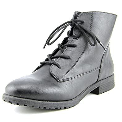 Womens Qwinn Leather Round Toe Ankle Combat Boots