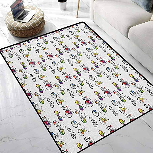 Bicycle Area Rugs for Sale 4x5 ft Hand Drawn Penny Farthing Tandem and City Bikes with Colored Rims Cartoon Style Car Floor Mats