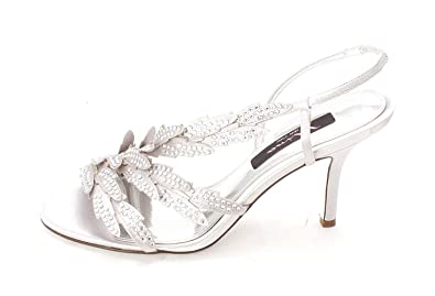 Nina Womens Vermont Open Toe SlingBack Dorsay Pumps Silver Size 8.5