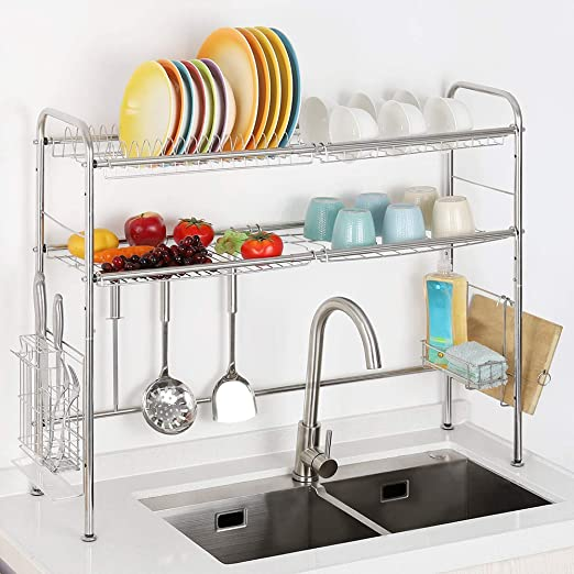 Amazon.com: 2 Tier Over The Sink Dish Drying Rack Stainless Steel