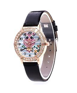 Loweryeah The Cortical Quartz Watch Has an Owl Pattern A Rhinestone Dial