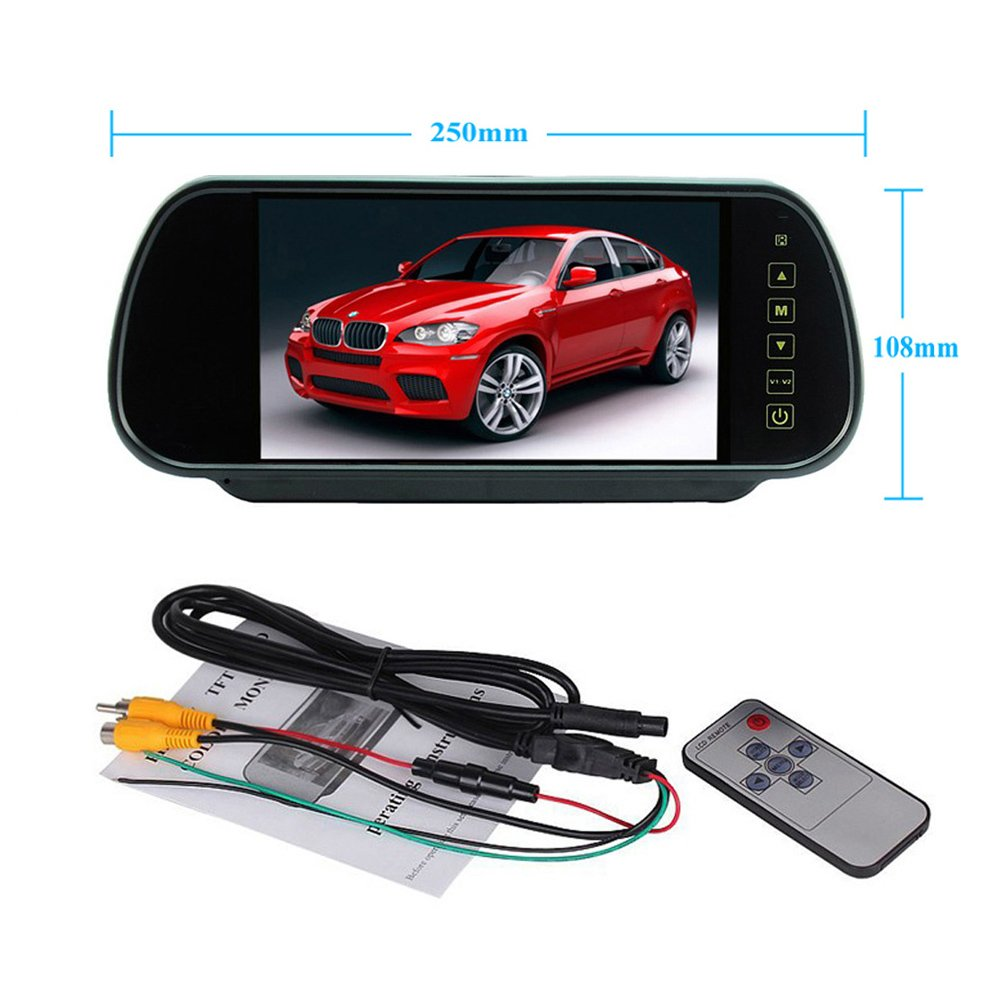 Podofo Wireless Car Backup Camera Parking System 7 LCD Touch Button Vehicle Rear View Mirror with Waterproof IR License Plate Camera PD-P0137