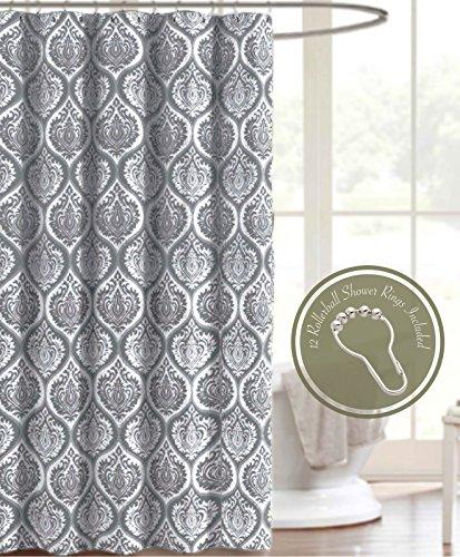 Shower Curtain Set with 12 Roller Hooks Rings Gray Medallion Trellis Damask Soft Crinkle Fabric Decorative Bathroom (Trellis Fabric)