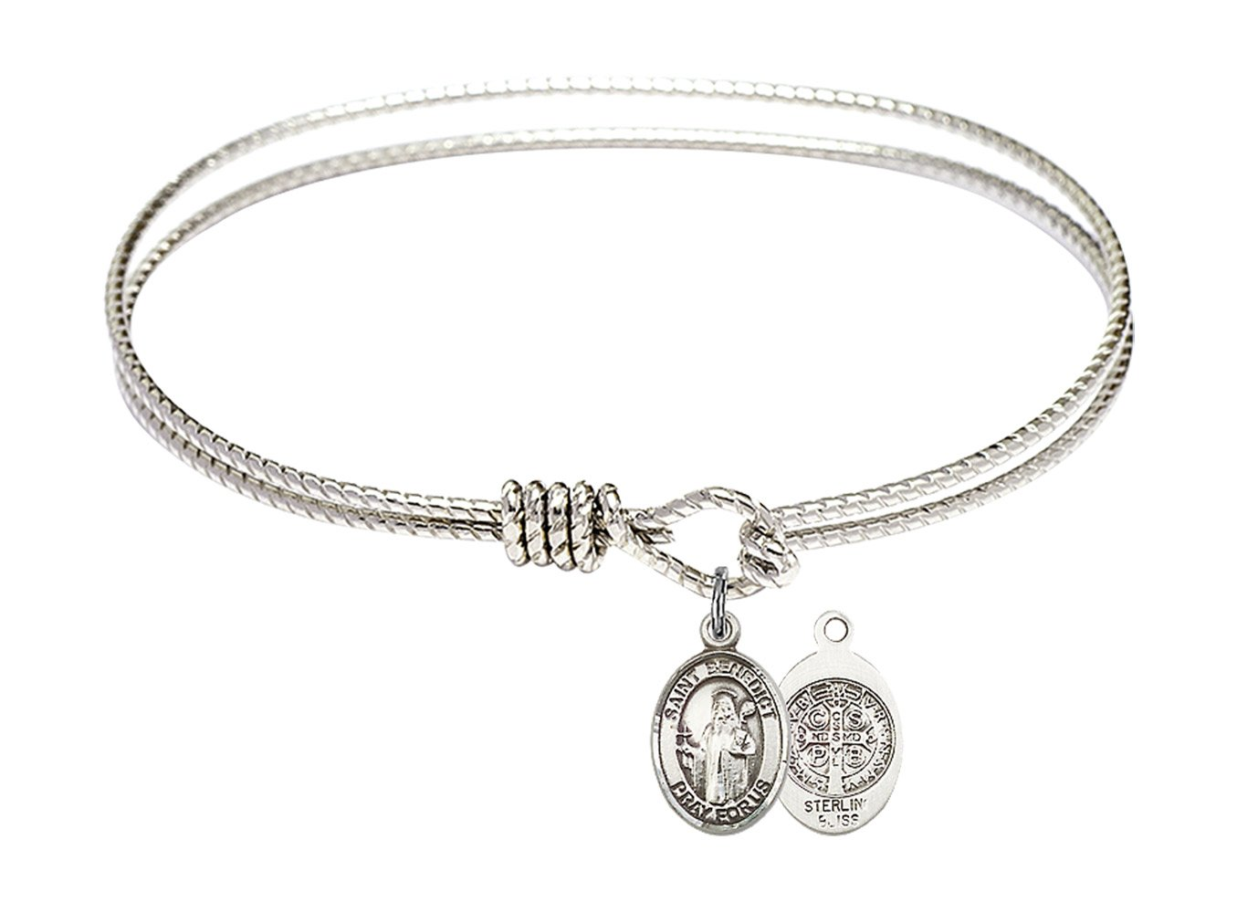 7 1/4 inch Oval Eye Hook Bangle Bracelet w/ St. Benedict in Sterling Silver