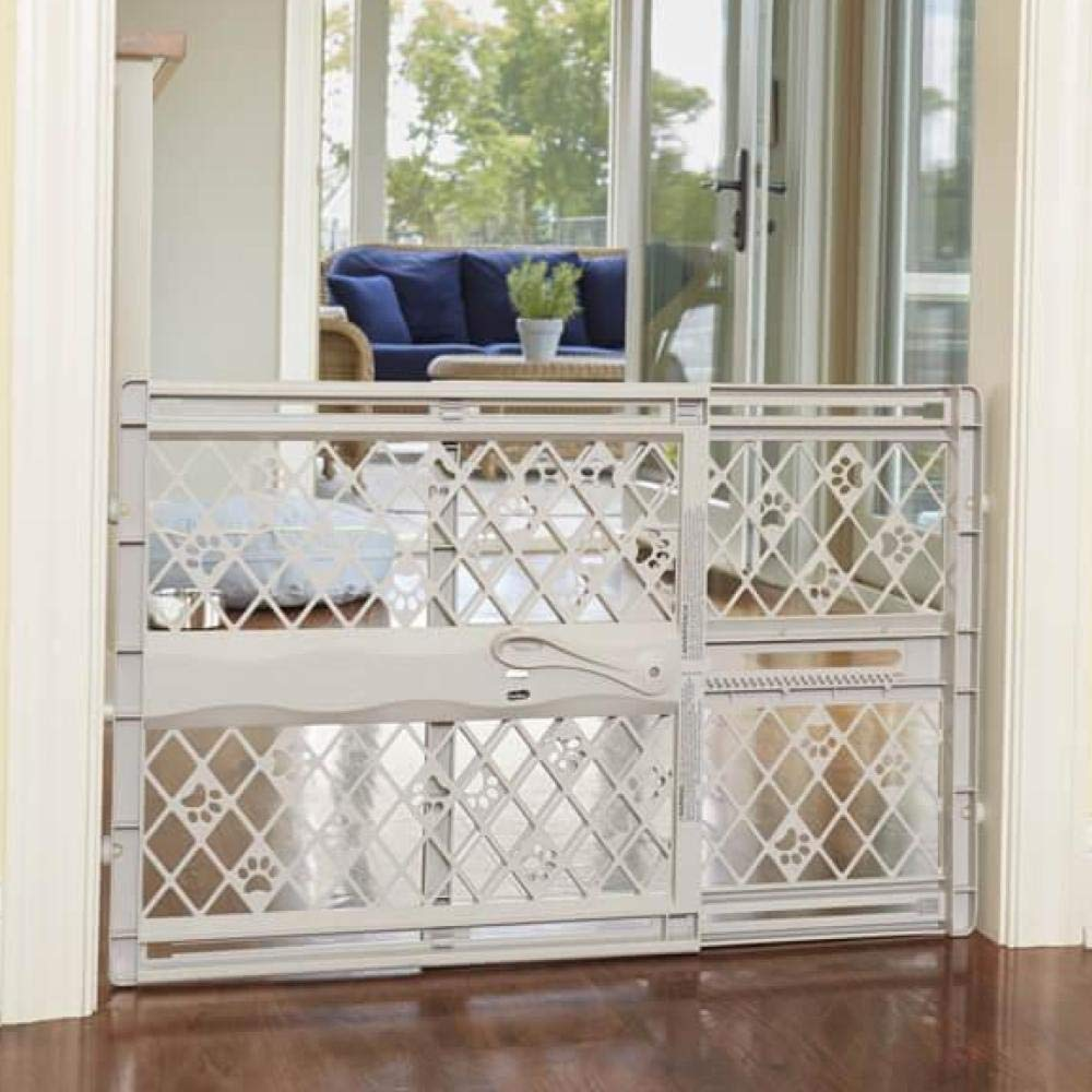 North States Mypet Paws 42'' Portable Pet Gate: Expands & Locks In Place with No Tools. Pressure Mount. Fits 26''- 42'' Wide (23'' Tall, Light Gray) by North States Pet