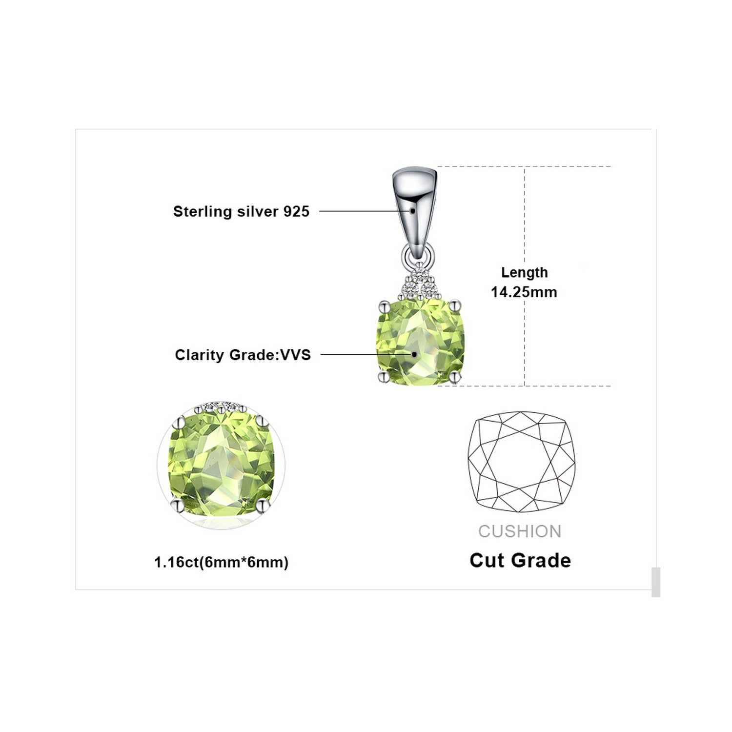 CS-DB Jewelry Silver 1.1ct Peridot Box Chain Chain Charm Pendants Necklaces