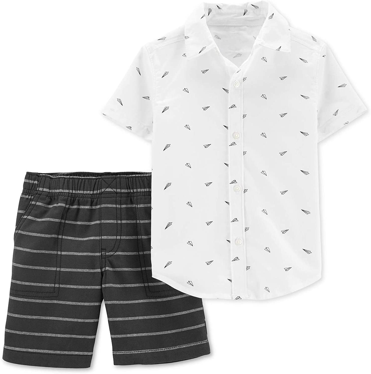 Carters 2-Piece Paper Airplane Button-Front Top /& Striped Short Set 18 Months Black and White