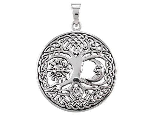 Amazon 925 sterling silver sun crescent moon faces celtic 925 sterling silver sun crescent moon faces celtic knots tree of life round charm pendant mozeypictures Image collections