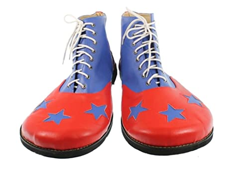 d117d3da2 Amazon.com  Jumbo Red N  Blue Clown Shoes Stars Adult PU Leather Circus Costume  Accessory  Clothing