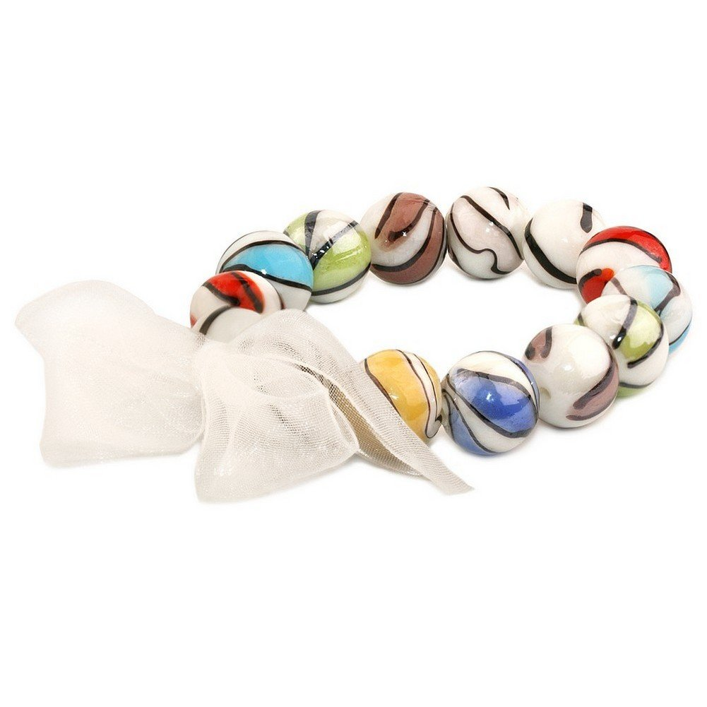 Joe Cool Bracelet Marbled Beads with Bow Elasticated Made with Organza /& Glass