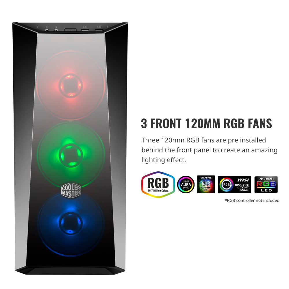 Cooler Master MasterBox Lite 5 RGB ATX Mid-Tower with 3 RGB Fans Tempered Glass Side Panel & External Cases (MCW-L5S3-KGNN-02)