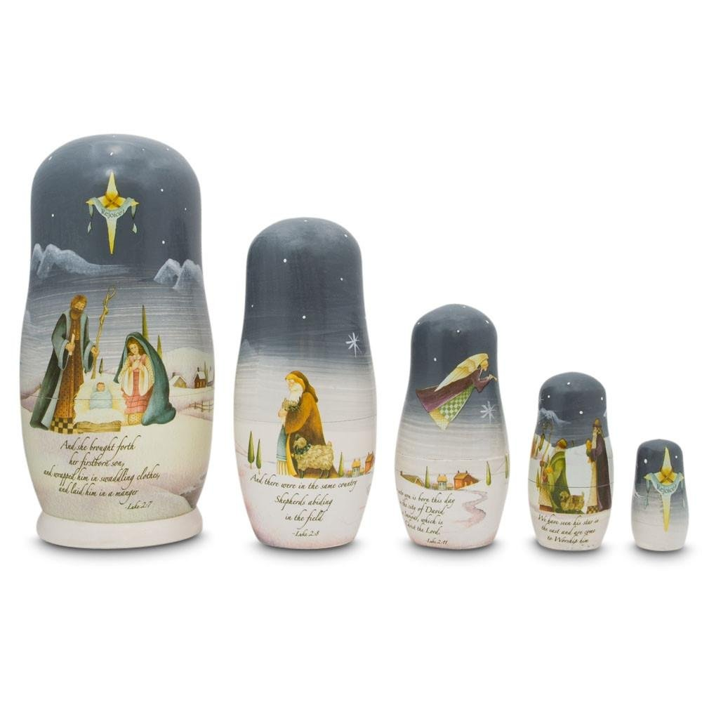 BestPysanky Set of 5 Nativity Scene Set with Bible Verses Wooden Nesting Dolls 5.75 Inches by BestPysanky