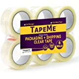 TapeMe Clear Packing Tape - 60 Yards Per Roll (Pack of 6 ) - 2.7mil, Heavy Duty Sealing Adhesive Industrial Tapes for Shipping, Packaging, Moving, Office, Storage, Etc.