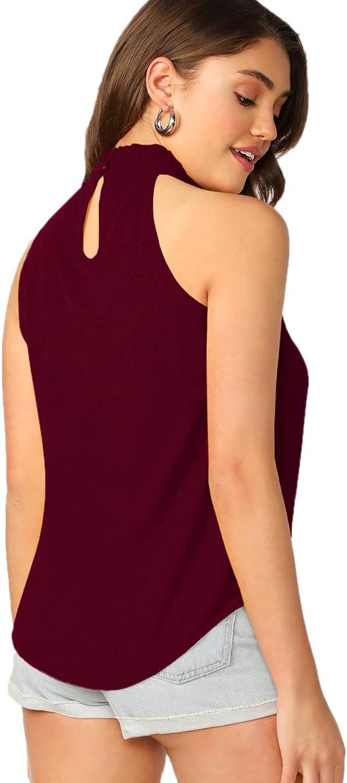 SweatyRocks Womens Elegant Sleeveless Halter Neck Blouse Shirt Top