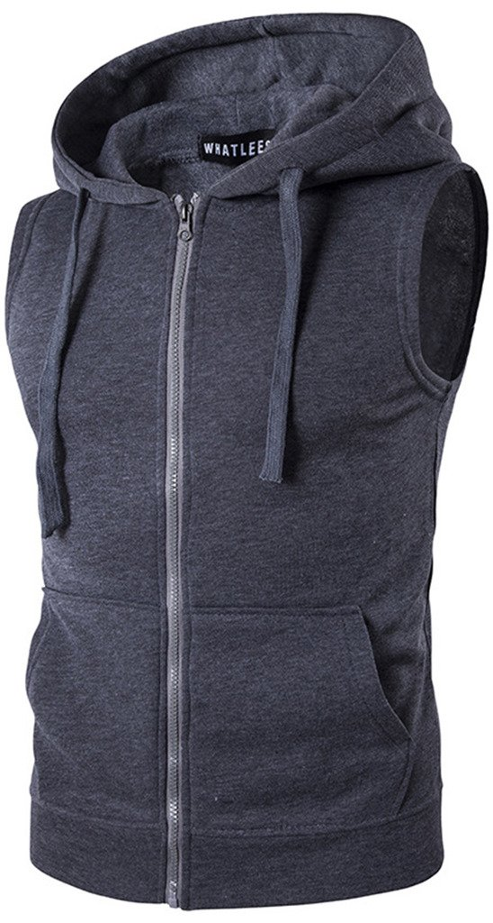 WHATLEES Mens Solid Sleeveless Zip up Fitness Hoodie Shirt Vest with Pockets B424-Darkgray-XL by WHATLEES