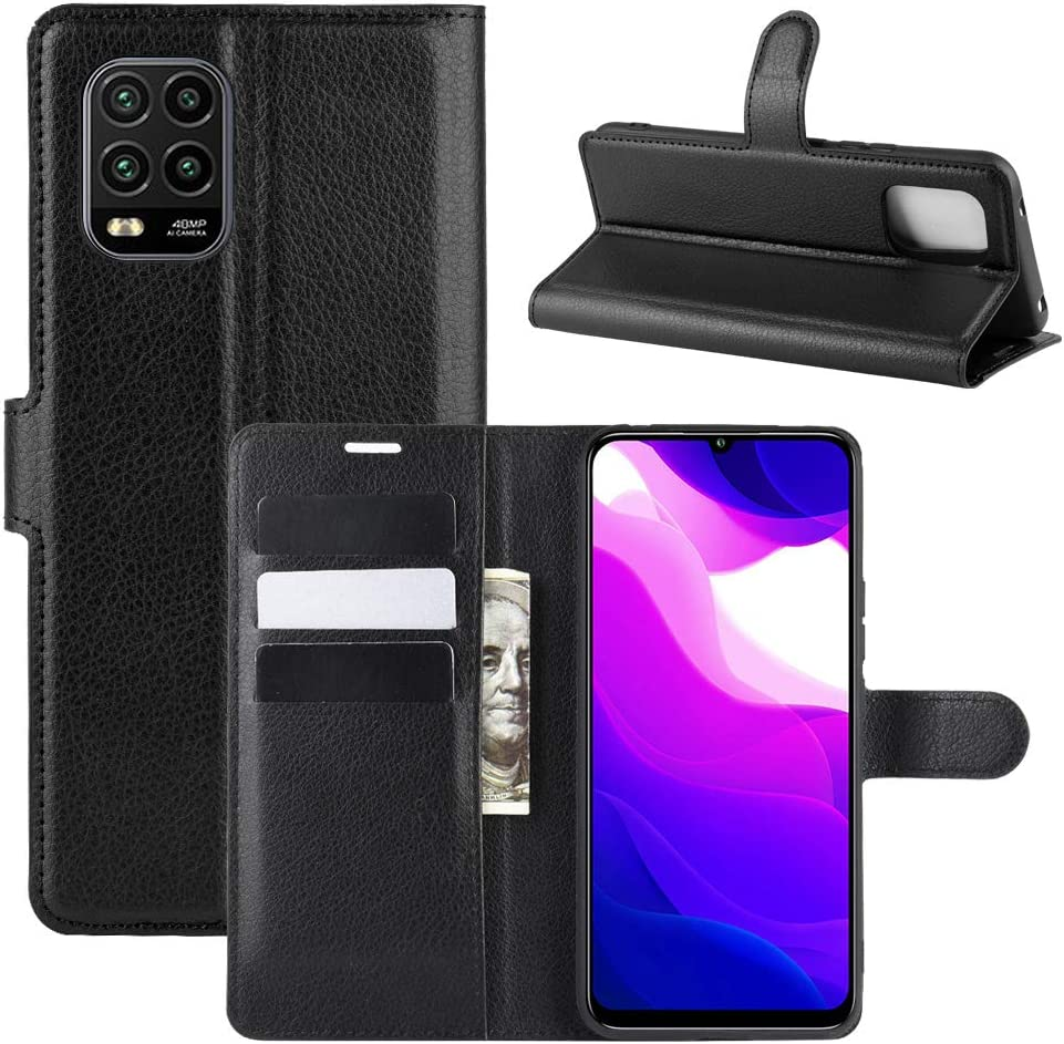 Fertuo Funda para Xiaomi Mi 10 Lite, Carcasa Libro con Tapa de Cuero Piel Wallet Case Flip Cover con Kickstand, Hebilla Magnetica, Ranuras para Tarjetas para Xiaomi Mi 10 Lite 5G Smartphone, Negro
