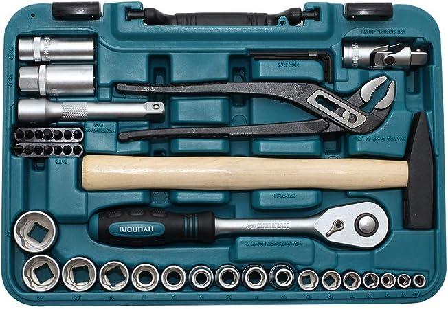 Hyundai Werkzeugset K56 56 Teiliger Werkzeugkasten Aus Cr V Stahl 72 Zahn Umschaltknarren Super Lock Steckschlüsseln Werkzeugkoffer Steckschlüsselsatz Profiwerkzeug Ratschenset Knarrenkasten Baumarkt