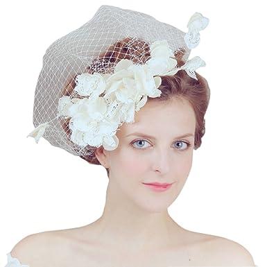 2c2d04fa87e vimans Women s Light Champagne Lace Hair Clip Veil Hat Bridal Wedding  Fascinator