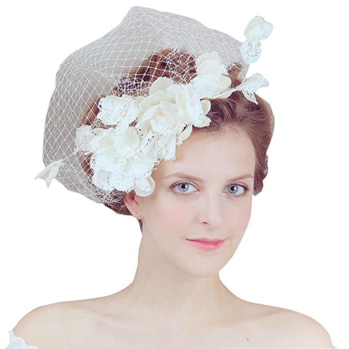 vimans Women s Light Champagne Lace Hair Clip Veil Hat Bridal ... eddef58ad28