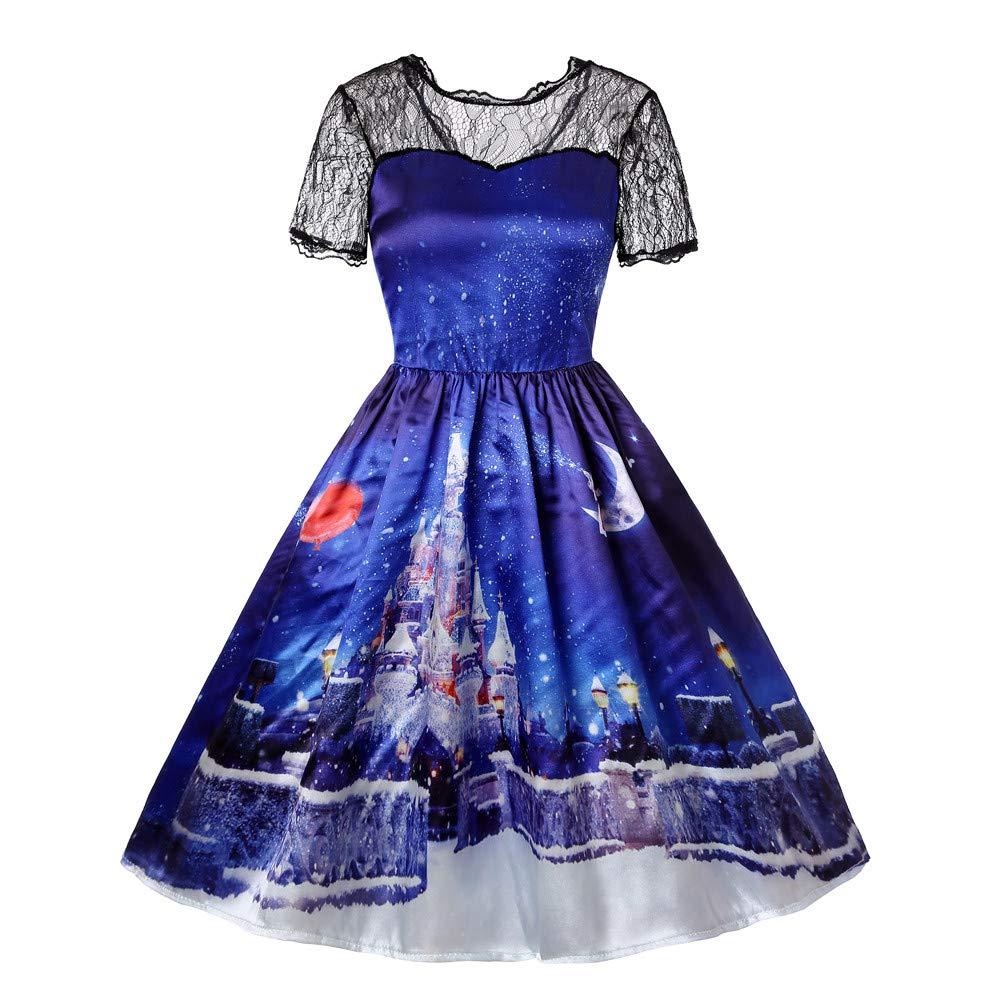 Clearance Christmas Dress FEDULK Women Santa Claus Print Lace A Line Vintage Flared Party Dress