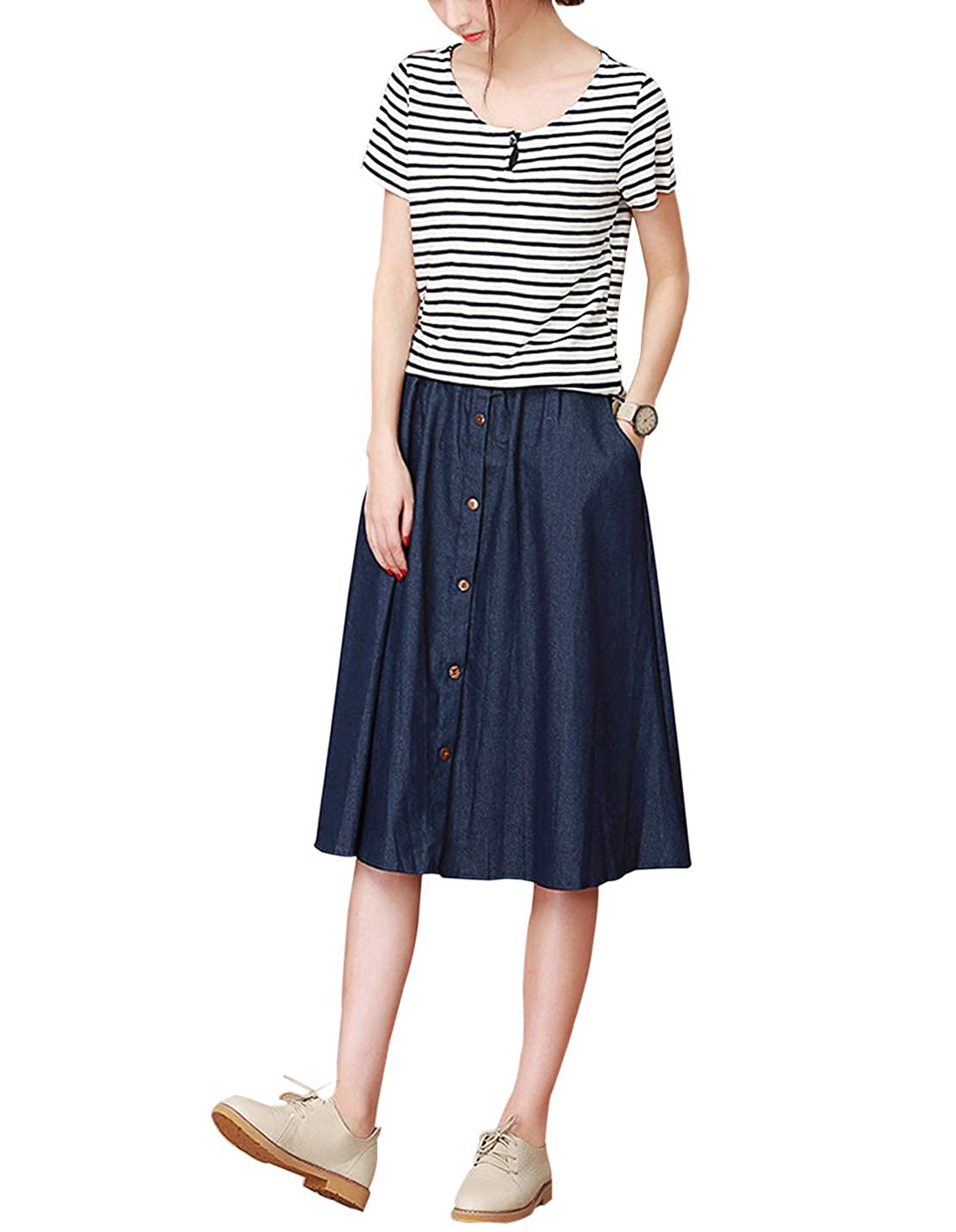 33fead081aa071 Gihuo Women's Elastic Waist Denim Midi Skirt High Rise Button Front Pleated  Skirt at Amazon Women's Clothing store: