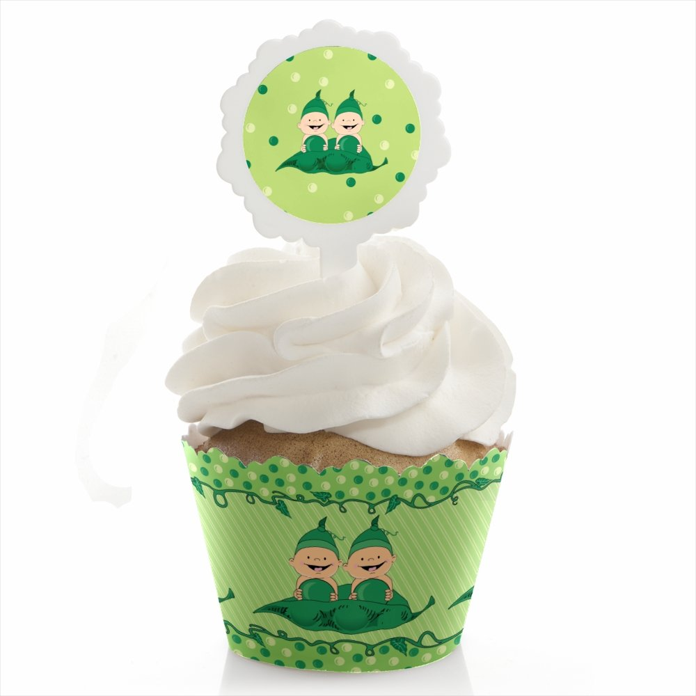 Big Dot of Happiness Twins Two Peas In A Pod - Baby Shower or Birthday Party Cupcake Wrapper and Pick - Cupcake Decorating Kit - Set of 24