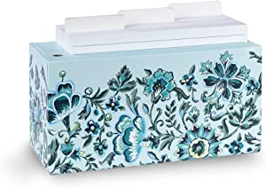 Vera Bradley Desktop Notecard Holder with 180 Count Lined Index Cards and Tab Dividers, Blue Floral Desk Accessory for Office Organization, Cloud Vine