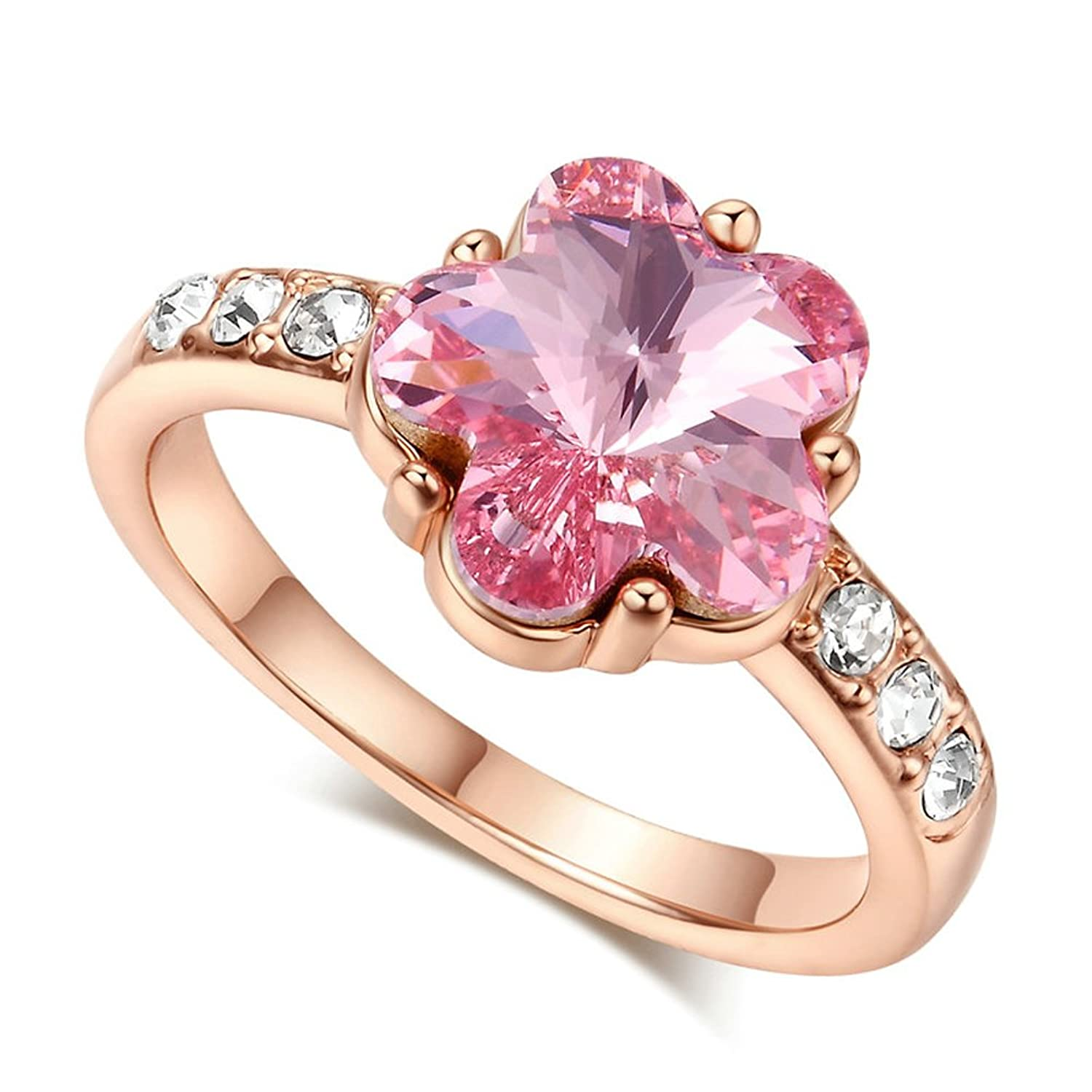 Amazon.com: F&F Ring Luxury Flower Sakura Zircon Rose Gold Color ...