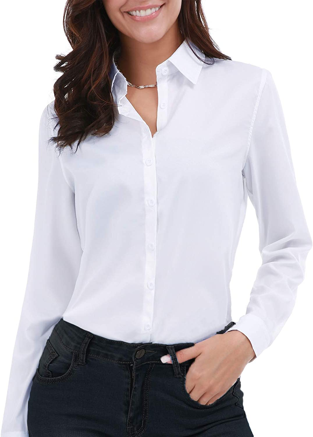 Gemolly Women's Basic Button Down Shirts Long Sleeve Plus Size Simple Cotton Stretch Formal Casual Shirt Blouse