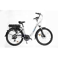 URBANBIKER Vélo électrique Ville Mod. Sidney, Baterie Lithium ION 468 Wh (13 Ah 36 V), 7 Vitesses, Taille 44, Argent