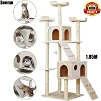 Cat Tree Tower Cat Tree House Cat Tree Condo Cat Scratcher 6.07 ft (185cm) Wood Rattan Pet Supplies with 3 Versatile Safe Beds, 2 Roomy Condo Easy to Assemgbly,Khaki