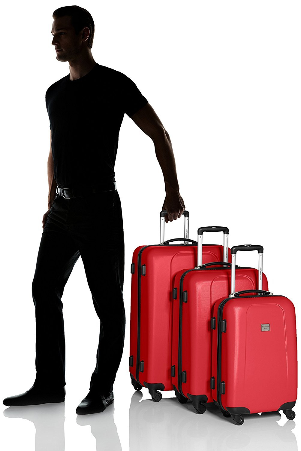 "HAUPTSTADTKOFFER - Wedding - Set of 3 Hard-side Luggage Glossy Suitcase Hardside Spinner Trolley Expandable (20"", 24"" & 28"") TSA Red by Hauptstadtkoffer (Image #7)"