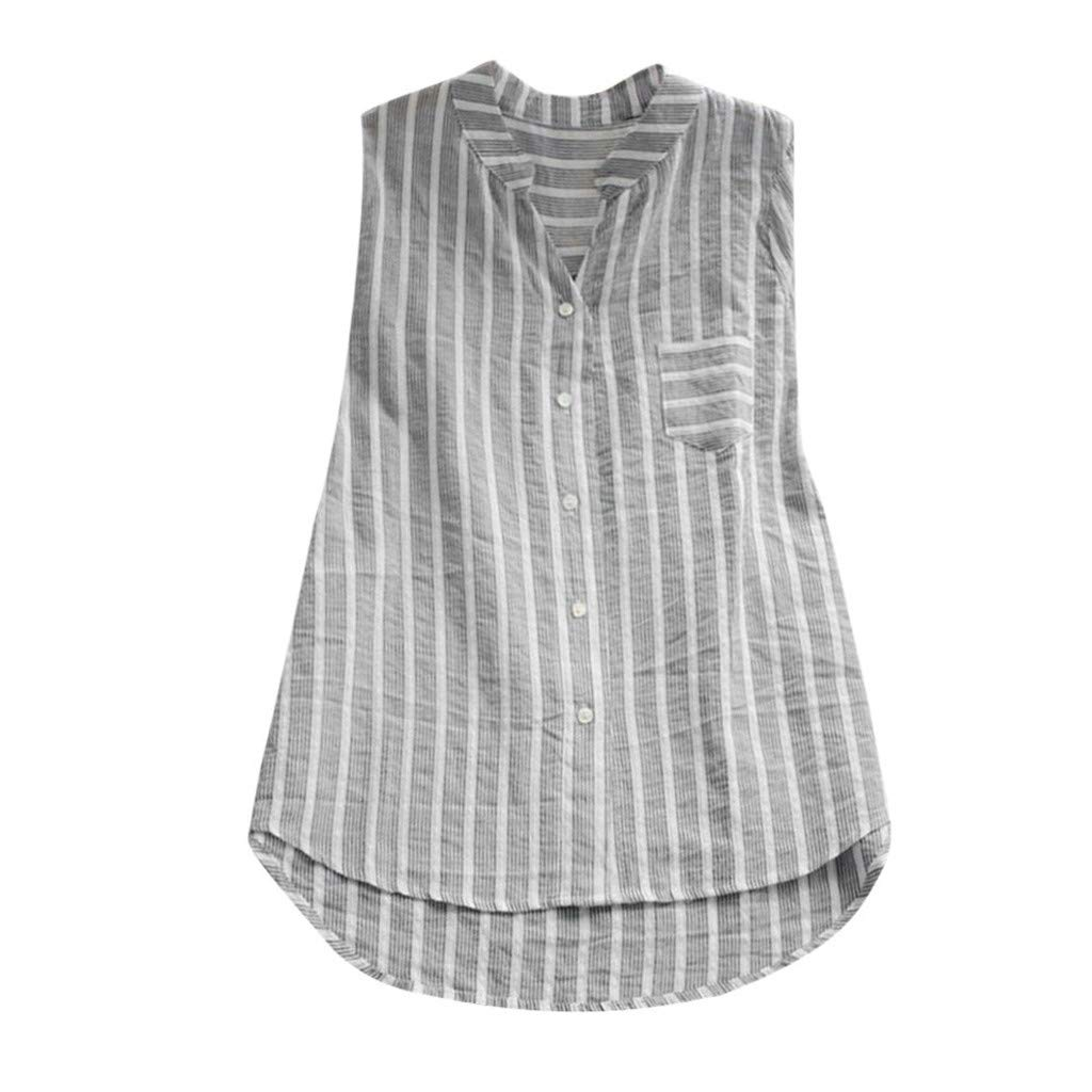 e3f54fe7b54659 Womens Baggy Tops - Plus Size Loose Sleeveless Striped Casual Pocket V Neck  Cotton Linen Tunic Blouses T Shirts at Amazon Women s Clothing store