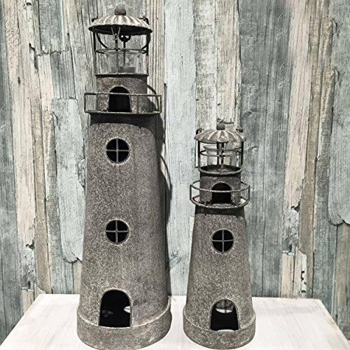 The Rustic Cape Cod Style Americana Lighthouse Tea Light Holders, Set of 2, 14 1/4 and 21 1/4 Inches Tall, By Whole House Worlds Americana Candle Holder
