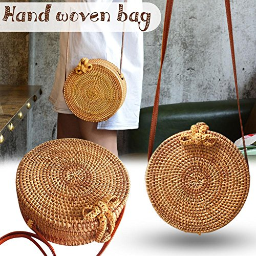 Jingolden Bohemia Style Handmade Vintage Fashionable Rattan Straw Woven Bag Round Bow Beach Bag Home Storage Bag for Women -