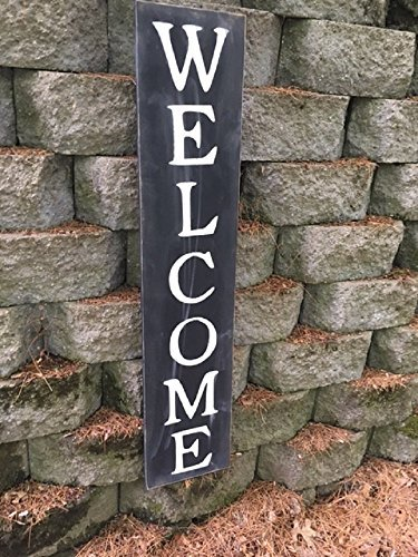 WOOD DECOR Welcome Sign 25inch - Welcome Vertical Wooden Sign - Farmhouse Style- Vertical Welcome Sign
