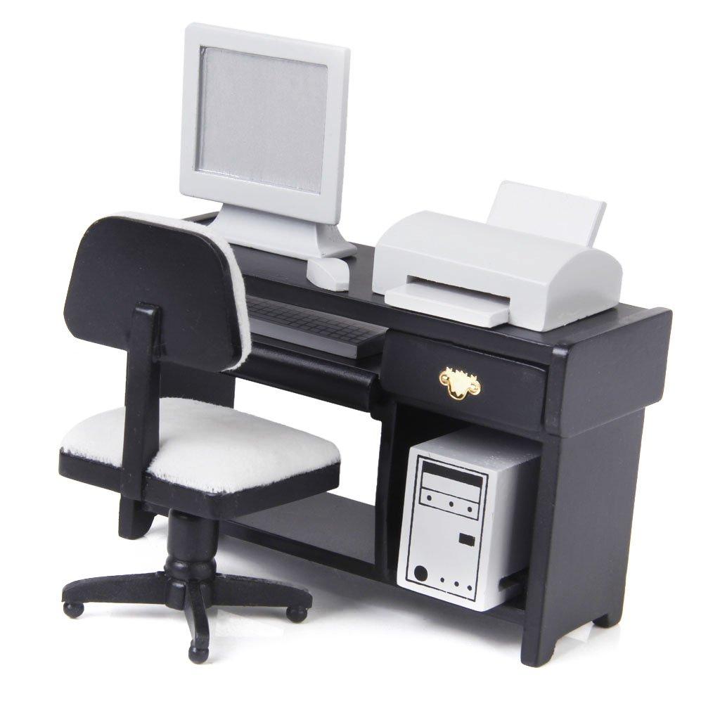 1:12 Dollhouse Miniature Furniture Computer Desk Chair Printer Set by Generic