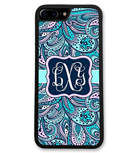 iPhone 7 Case Blue Pink Paisley Monogram, Monogrammed Personalized, Hard Rubber iPhone 7 Case (4.7 inch) by Simply Customized (Paisley Blue Studio)